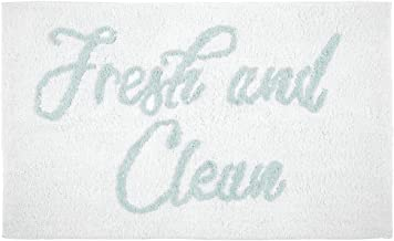 mDesign Plush, Cushioned Conversation Bath Mat Rug with Writing for Bathroom Floor - Mint Green/White