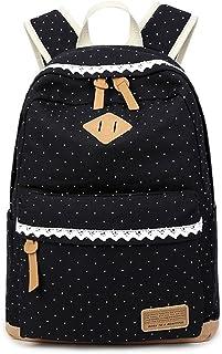 Mädchen Schulrucksack,Fashion Damen Canvas Rucksack Polka Punkt süße Spitze Kinderrucksack Outdoor Freizeit Daypacks Schultaschen für Teenager 16.5x13x5.5 Zoll schwarz