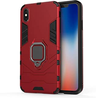 Compatible with iPhone Xs Max Case, Metal Ring Grip Kickstand Shockproof Hard Bumper Shell (Works with Magnetic Car Mount)...