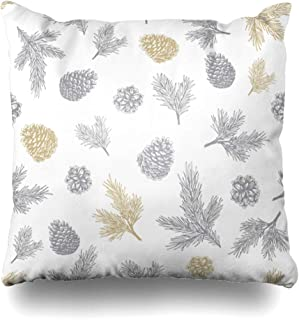 DIYCow Throw Pillows Covers Cozy Vintage Pine Cones Pattern Christmas Nature Drawing Tree Hipster Pinecone Hand Snow Design Home Decor Pillowcase Square Size 20 x 20 Inches Cushion Case