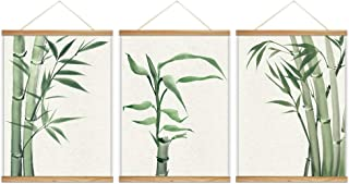wall26 - 3 Panel Hanging Poster with Wood Frames - Watercolor Painting Style Bamboos - Ready to Hang Decorative Wall Art - 18