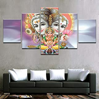 PEACOCK JEWELS [Small] Premium Quality Canvas Printed Wall Art Poster 5 Pieces / 5 Pannel Wall Decor Parvati Ganesh Shiva Light Painting, Home Decor Pictures - Stretched