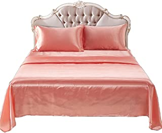 ADASMILE A & S 4-Piece Classic Luxury Silky Soft Satin Fitted Sheet Bed Set Solid Color Bedding Collection (Peach Color Qu...