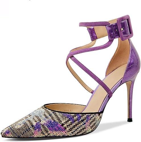 Chaussures et Sacs Chaussures Chaussures Femme Chaussures à Talons Hauts pour Femmes Chaussures à Paillettes Mode Bouche Peu Profonde Talons Pointus en Cuir Chaussures De Soirée Violet, Talon 9 Cm