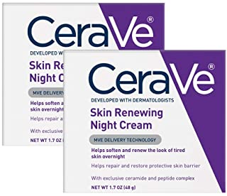 CeraVe Night Cream for Face | 2 Pack (1.7 Ounce Each) | Skin Renewing Night Cream with Hyaluronic Acid & Niacinamide | Fragrance Free