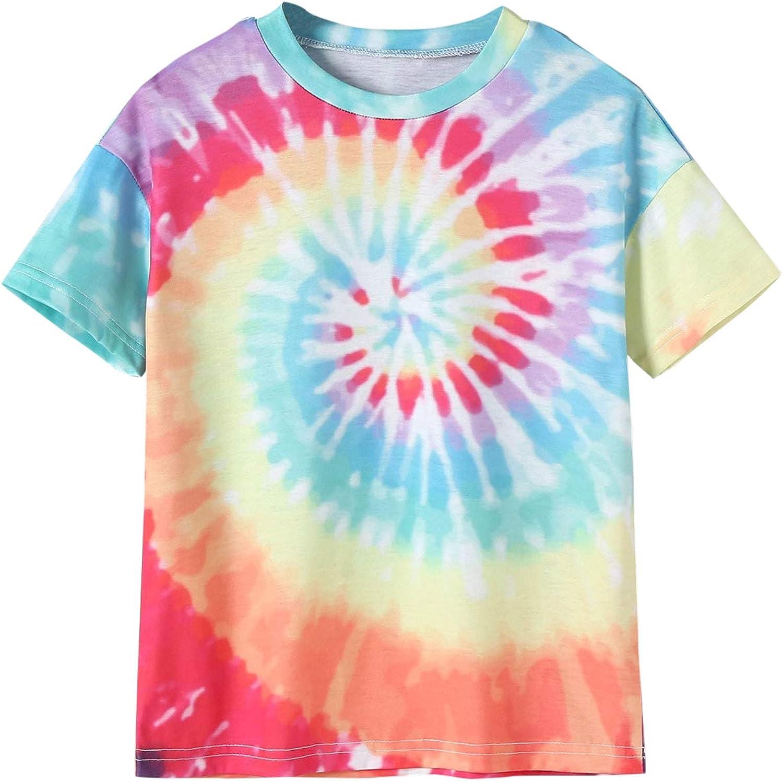 Milumia Girl's Casual Tie Dye Crewneck Short Sleeve Tee Summer Graphic T Shirt Top