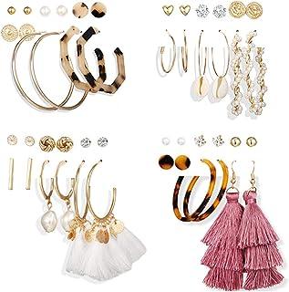 24 Pairs Tassel Earrings Set Leopard Resin Hoop Earrings Pearl Shell Dangle Earrings Bohemain Jewelry for Women,Girls Gift