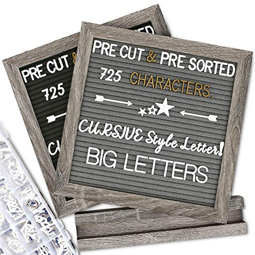 Double Sided Felt Letter Board with Letters - Pre Cut & Sorted 725 White & Gold Characters with Stand, Cursive Style Letters, Big Letters, Plastic Organizer, Tabletop Display.