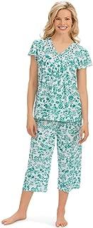 Short Sleeve Floral Lace Trim Capri Pajamas Set
