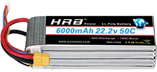 HRB 6S 6000mAh 50C 22.2V Lipo Batteries with XT60 Plug for Mikado Logo 550, Align T-REX 550 600 700, Sab Goblin 630, Large Multirotors, EDF Jets, 600 to 700 Size RC Helicopters
