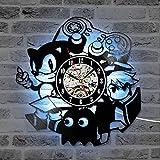 Yangoo Reloj de Pared de Vinilo Luz LED 12 Pulgadas Reloj de Vinilo Decoración del Hogar Lámpara de Noche Colgante Creativa 7 Colores Luminoso Reloj de Pared Niños y Amigos,A