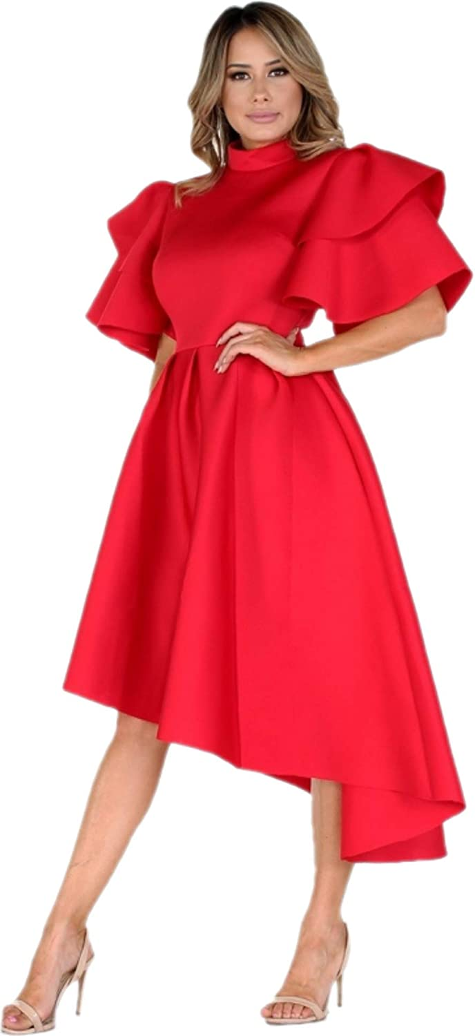 L'Diva Couture Boutique Elegant Fluted Sleeves Women's High Low Dress