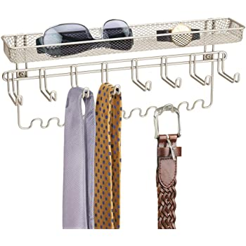 mDesign Decorative Metal Closet Wall Mount Jewelry Accessory Organizer for Storage of Necklaces, Bracelets, Rings, Earrings, Sunglasses, Wallets - 8 Large /11 Small Hooks, 1 Basket - Satin