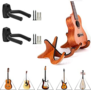 Soporte para Ukelele De Madera & Soporte Pared Guitarra,Saijer Guitarra Hanger Oporte De Guitarra Y Soporte para Soporte De Madera Violín Mandolina para Guitarra Eléctrica Acústica Clásica Bajo