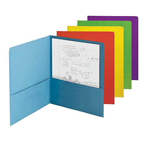 Smead Two-Pocket Heavyweight File Folder, Letter Size, Assorted Colors, 50 per Carton (87863)