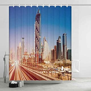 YOLIYANA Urban Comfortable Shower Curtain,Modern Subway Line in Dubai Tracks Skyscrapers Futuristic View Commercial for Showers Stalls and Bathtubs,78.74