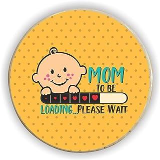 TheYaYaCafe Mom to Be Acrylic Fridge Magnet - (Round, Yellow)