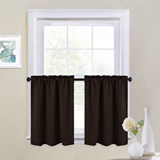 NICETOWN Kitchen Valances Window Treatments - Home Fashion Blackout Curtains Tailored Tiers for Loft (Double Panels, W29 x L24 inches, Toffee Brown)
