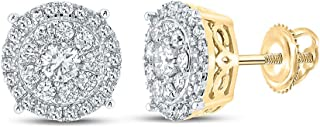 FB جواهر الذهب الأصفر 10kt رجل جولة الماس العنقودية أقراط 5/8 Cttw