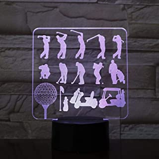 Lámpara LED USB Modelo de golf Luces nocturnas 3D 7 colores Luces de dormitorio de energía Novedad Regalo de vacaciones Lámpara de escritorio LED