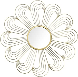 """JHY DESIGN Home Collection 22"""" Golden Flower Mirror, Classic Metal Decorative Wall Mirror (Flower)"""