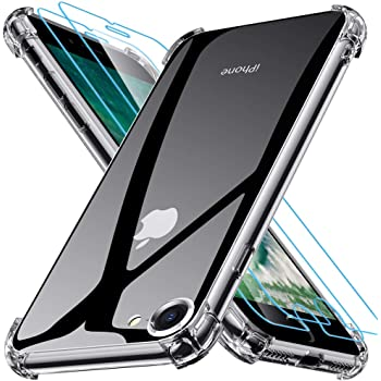 Kompatibel mit iPhone SE 2020 Hülle mit 2 Stück Panzerglas Displayschutzfolie, Joyguard Designed für iPhone SE Hülle 2020 Transparent iPhone 8 Hülle iPhone 7 Hülle - Klar 4.7 Zoll