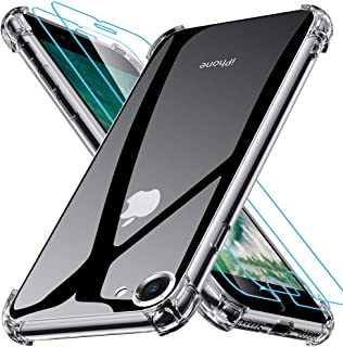 Joyguard Funda iPhone SE 2020[ 2*Protector de Pantalla de Vidrio Templado ], Funda iPhone SE 2020 Silicona Funda iPhone 8 Transparente Funda iPhone 7 Silicona - Transparente(4.7'')