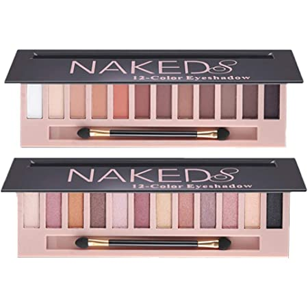 2 Pack 12 Colors Makeup Naked Eyeshadow Palette Natural Nude Matte Shimmer Glitter Pigment Eye Shadow Pallete Set Waterproof Smokey Professional Cosmetic Beauty Kit BestLand (2 PCS)