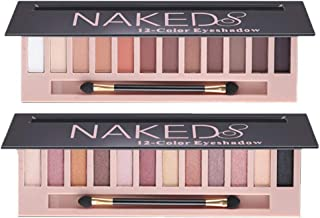 2 Pack 12 Colors Makeup Naked Eyeshadow Palette Natural Nude Matte Shimmer Glitter Pigment Eye...