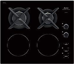 Sauter SPI6414BM - Plaque de Cuisson Mixte - Induction et Gaz - Encastrable - 4 Foyers - 3400W - L60 x P52cm - Revêtement...