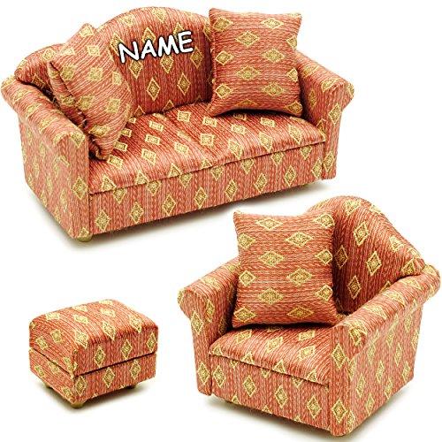 alles-meine.de GmbH 3 TLG. Set _ Miniatur Wohnlandschaft - Sofa / Couch + Sessel + Hocker -  rot weinrot - Gemustert  - inkl. Name - mit 3 Kissen - für Puppenstube Maßstab 1:12..