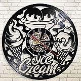 WJUNM Tienda de Helados Logotipo de la Empresa Reloj de Pared decoración de la Cocina Cono de Helado Moderno Postre Disco de Vinilo Retro Reloj de Pared