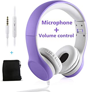 Yusonic Kids Headphones,Volume limiting and Audio Sharing Port,Play for School Boys Girls Children Toddlers Tablet(Purple)
