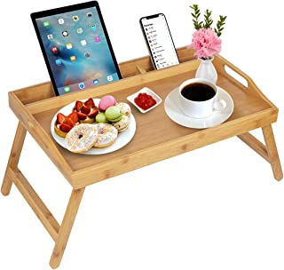 bed tray table with handles folding legs bamboo breakfast tray with phone tablet holder,foldable