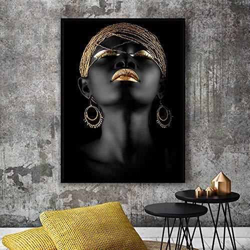 PHhomedecor Schöne Schwarze Frauen Ölgemälde Drucken Auf Leinwand Porträt Der Afrikanischen Wandkunst Druckt Plakate Und Drucke Wandbilder Cuadros(50X60Cm, Kein Rahmen) Bh-679