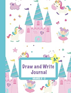 Draw and Write Journal: Grades K-2: Primary Composition Half Page Lined Paper with Drawing Space (8.5