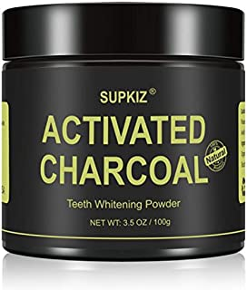 SUPKIZ Teeth Whitening activated Charcoal Powder Natural Teeth Whitener with Organic Coconut Shell and Food Grade Formula,...