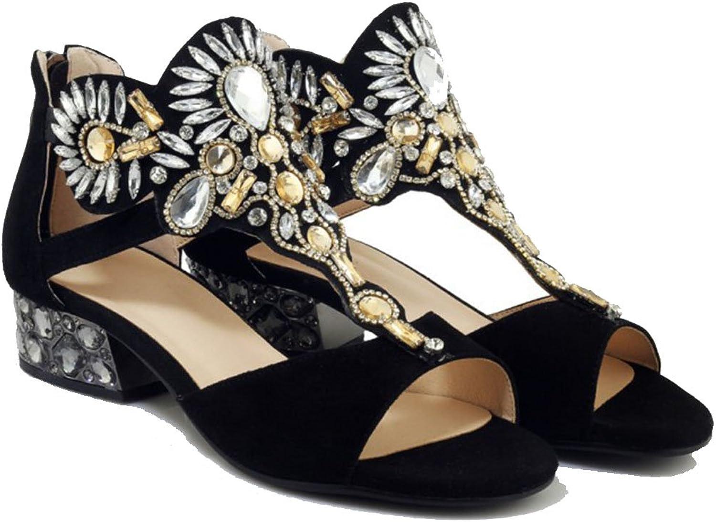Damen Damen Echtes Echtes Leder Sandalen Sommer Strass High Heels Offene Spitze Sandalen Party Abendkleid Schuhe Schwarz  Qualitätsprodukt