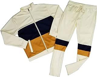Access Blind Trust Men's Color Block Contrast Tracksuit Jacket and Pants Set
