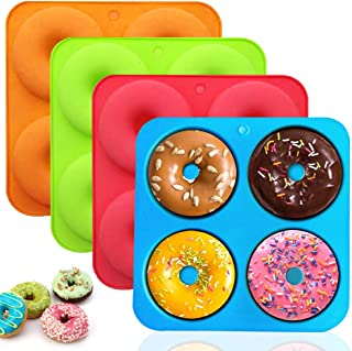 Silicone Donut Mold - WENTS 4 Pack Silicone Cake Molds Silicone Doughnut Mould 4 Cavity Non-Stick Heat Resistant Safe Sili...