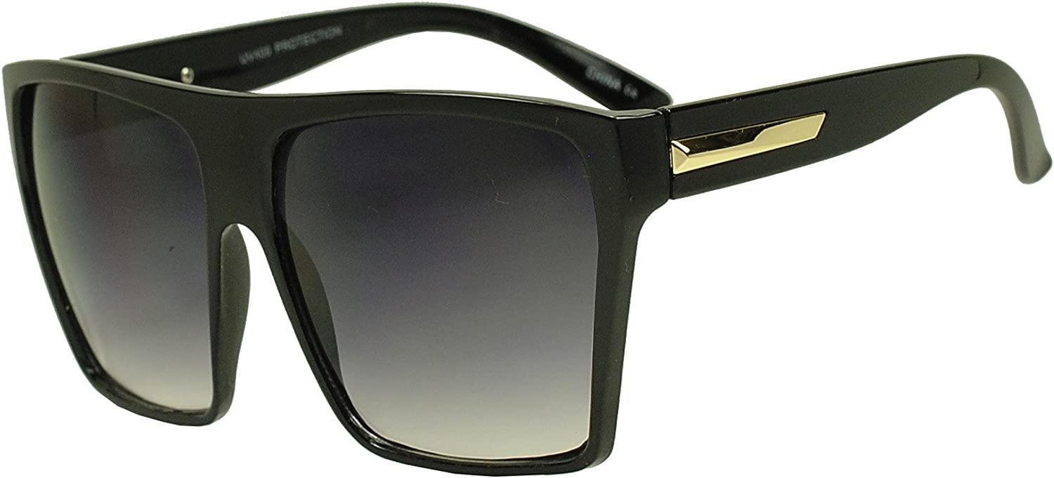 Sunglass Stop  XL Oversized Square Trapezoid Flat Top Trendy Large Sunglasses