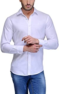 Feed Up Men's Solid Slim Fit Casual Shirt (FeedUpSTGlobal002_White_42)
