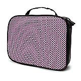 Bolsa de aseo de gran capacidad para guardar cosméticos de color rosa a cuadros, bolsa de maquillaje portátil, impermeable, organizador de viaje, bolsa de almacenamiento para mujeres y niñas