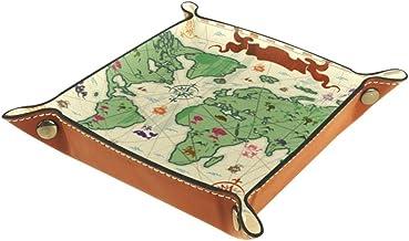 DragonSwordlinsu - Cesta de Almacenamiento con diseño Retro de Mapa del Mundo con árboles y volcán para Oficina o casa, Multicolor, 16x16cm