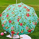 Beach and Grass Umbrella with Matching Travel Carrying Bag - Large 7 Feet 5 Inches Tilting Telescopic Aluminum Pole - Twist Sand/Grass Anchor - Wind Air Vent - Fiberglass Ribs (Floral Hibiscus)