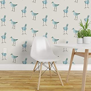 Spoonflower Peel and Stick Removable Wallpaper, Curious Bird Birds Blue White Animals Print, Self-Adhesive Wallpaper 12in x 24in Test Swatch