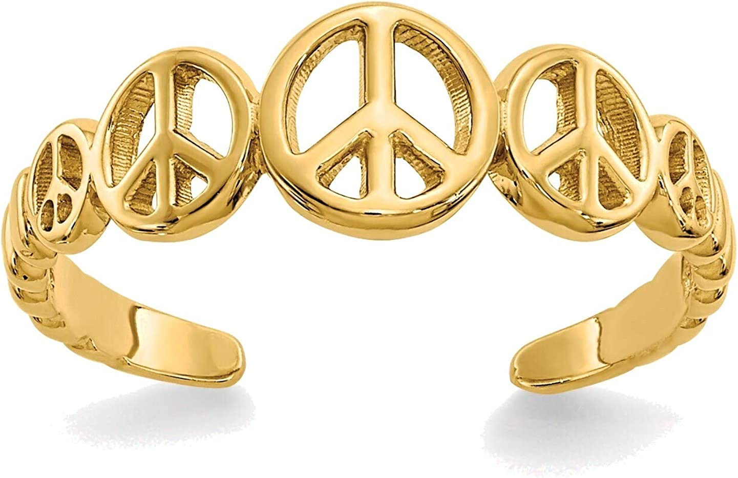 Bonyak Jewelry Peace Sign Toe Ring in 14K Yellow Gold in Size 11