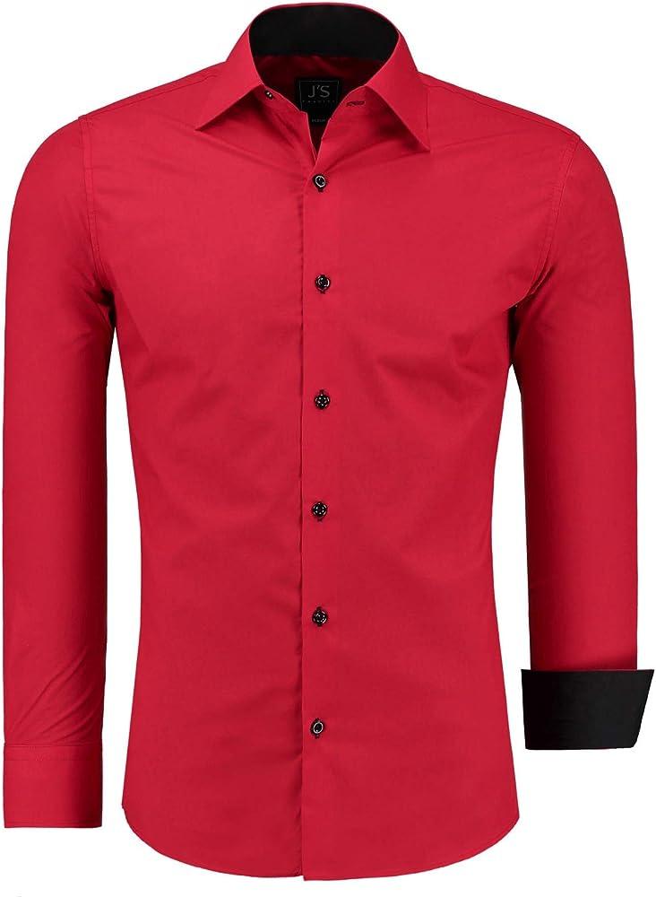 j`s fashion - camicia da uomo - casual classica , 70% cotone, 30% poliestere js-1000-k-weiß-s