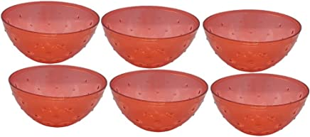 TKP Products Unbreakable Bowl for Dinner with Ice-Cream,125ml (Red) Set of 6 pcs