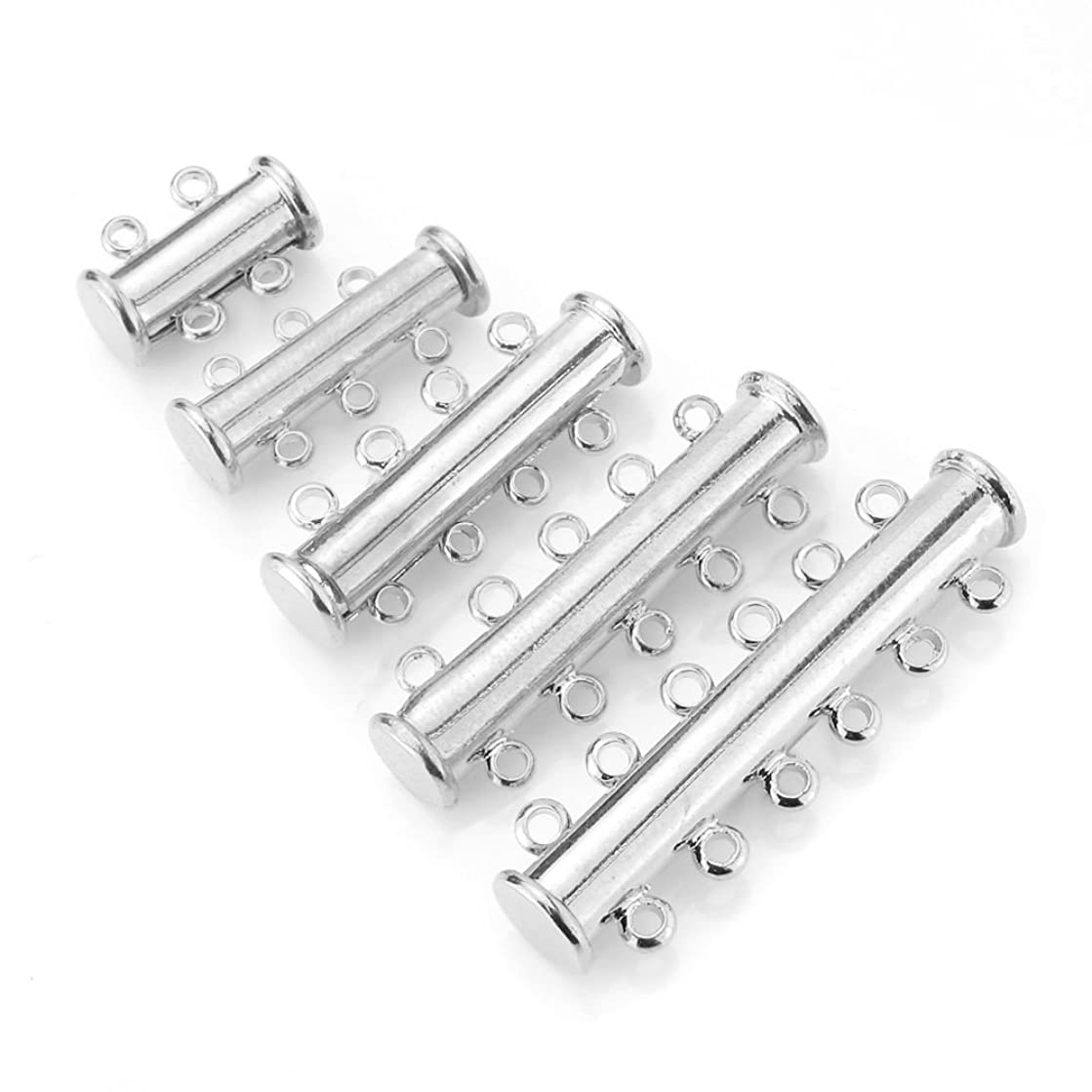 BEADNOVA 10pcs Silver Plated Multi Strand Slide Magnetic Tube Lock Clasp/Connectors for Jewelry Necklace Bracelet Making Findings